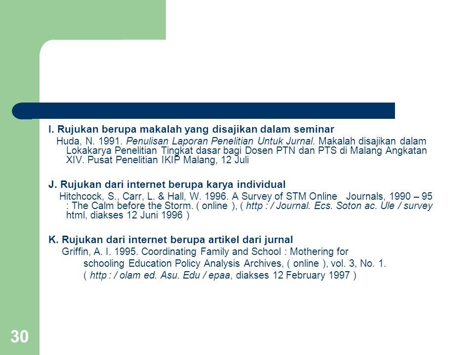 30 I. Rujukan berupa makalah yang disajikan dalam seminar Huda, N. 1991. Penulisan Laporan Penelitian Untuk Jurnal. Makalah disajikan dalam Lokakarya