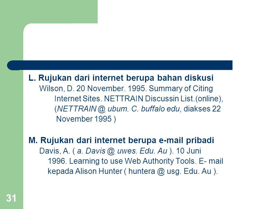 31 L. Rujukan dari internet berupa bahan diskusi Wilson, D. 20 November. 1995. Summary of Citing Internet Sites. NETTRAIN Discussin List.(online), (NE