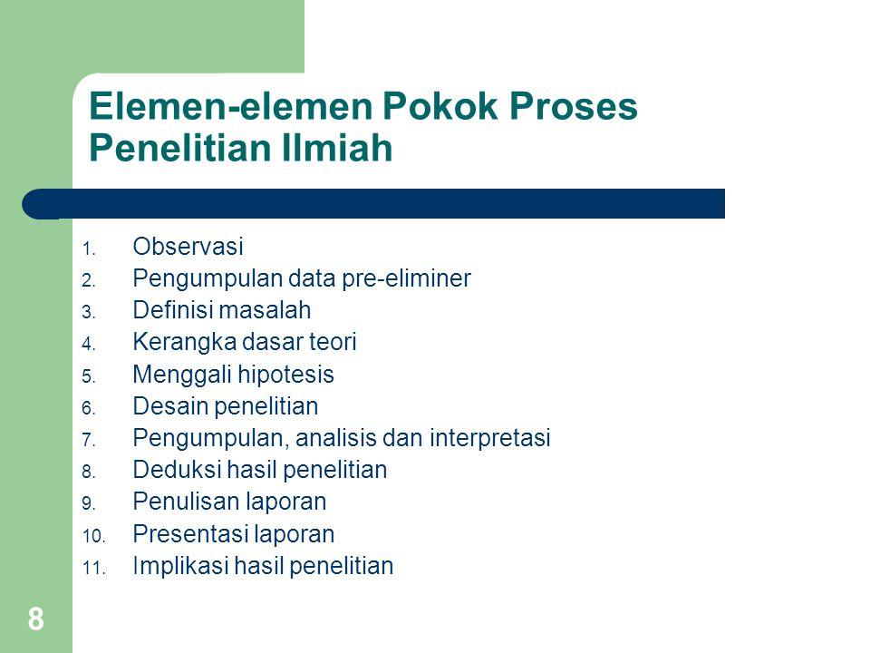 8 Elemen-elemen Pokok Proses Penelitian Ilmiah 1. Observasi 2. Pengumpulan data pre-eliminer 3. Definisi masalah 4. Kerangka dasar teori 5. Menggali h