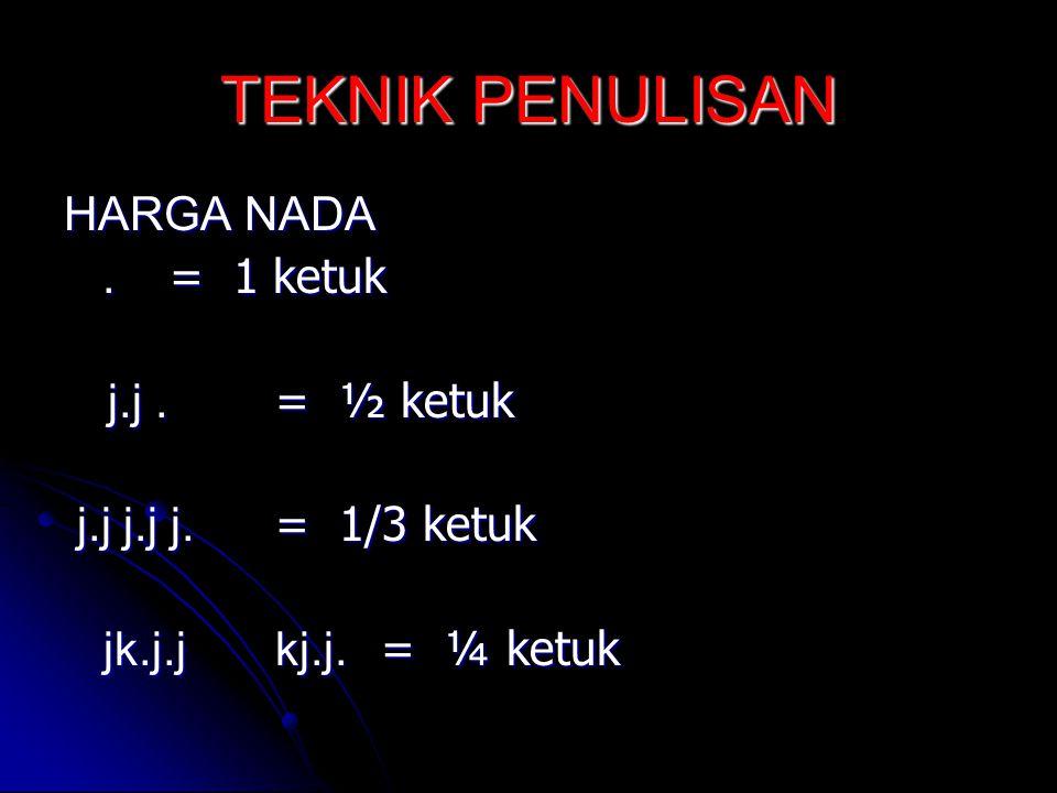 TEKNIK PENULISAN HARGA NADA. = 1 ketuk. = 1 ketuk j.j. = ½ ketuk j.j. = ½ ketuk j.j j.j j. = 1/3 ketuk j.j j.j j. = 1/3 ketuk jk.j.jkj.j. = ¼ ketuk