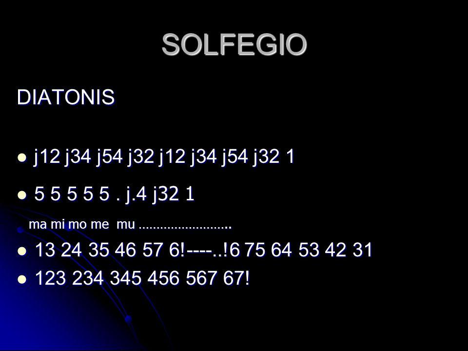SOLFEGIO DIATONIS  j12 j34 j54 j32 j12 j34 j54 j32 1  5 5 5 5 5. j.4 j 32 1 ma mi mo me mu …………………….. ma mi mo me mu ……………………..  13 24 35 46 57 6!-