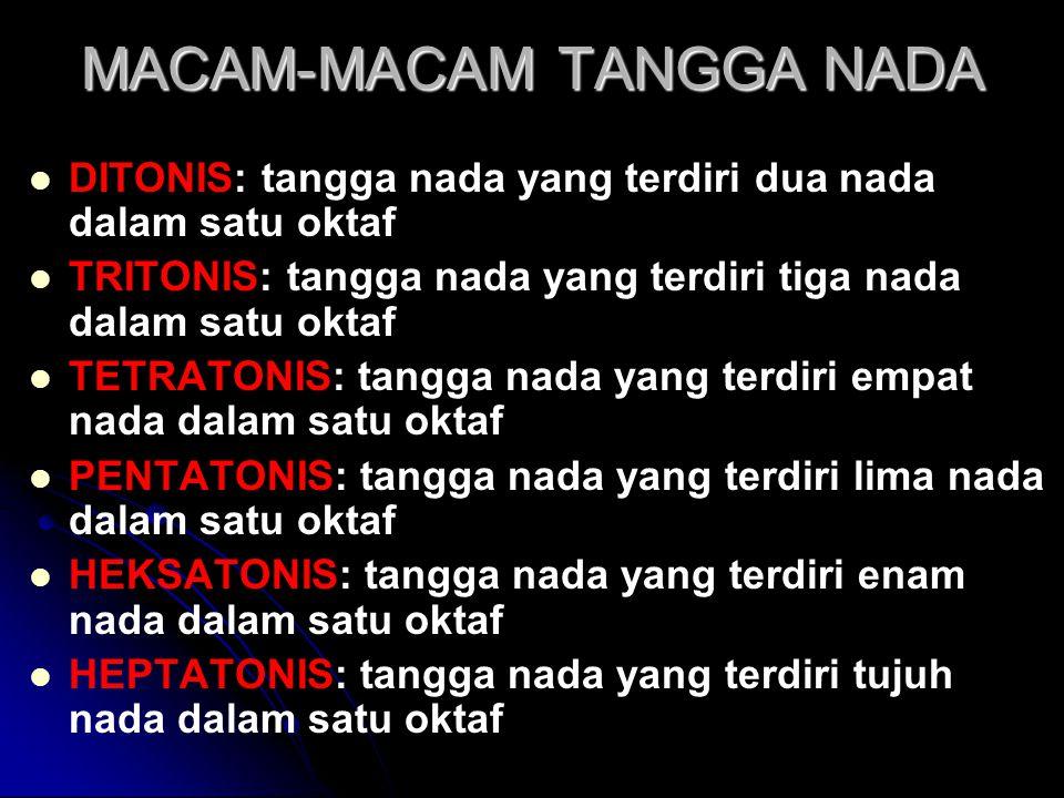 MACAM-MACAM TANGGA NADA   DITONIS: tangga nada yang terdiri dua nada dalam satu oktaf   TRITONIS: tangga nada yang terdiri tiga nada dalam satu ok