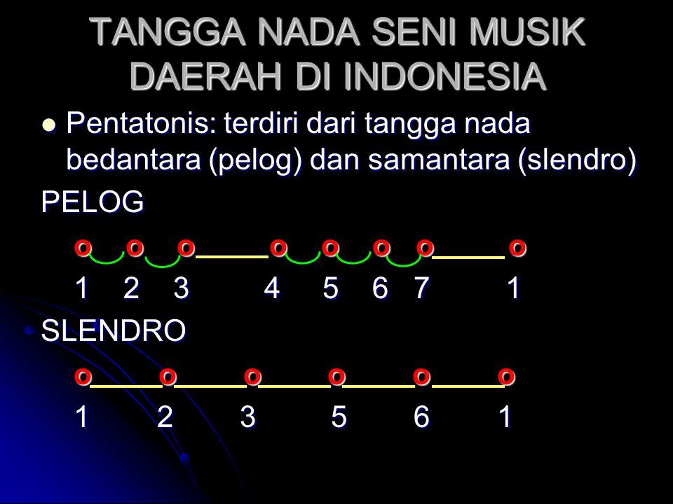  Pentatonis: terdiri dari tangga nada bedantara (pelog) dan samantara (slendro) PELOG o o o o o o o o o o o o o o o o 1 2 3 4 5 6 7 1 1 2 3 4 5 6 7 1