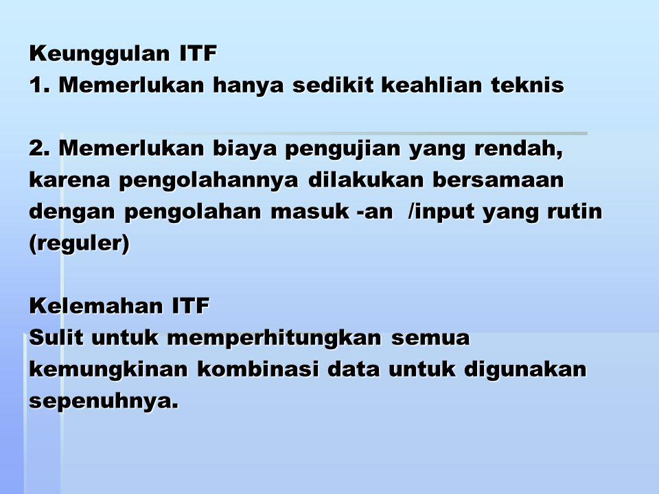 Keunggulan ITF 1. Memerlukan hanya sedikit keahlian teknis 2. Memerlukan biaya pengujian yang rendah, karena pengolahannya dilakukan bersamaan dengan