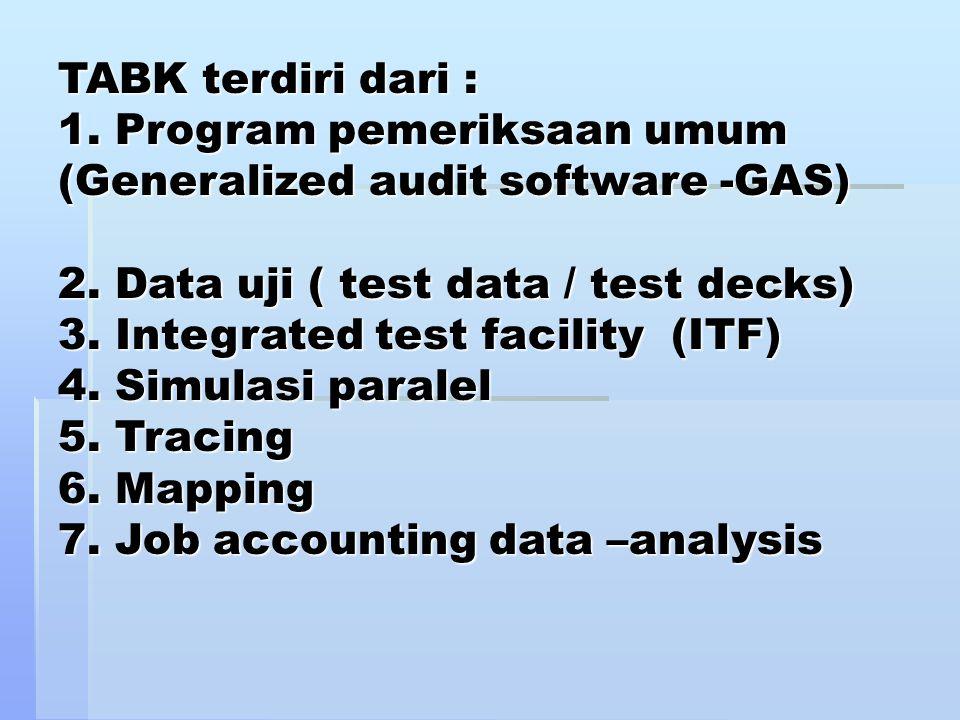 TABK terdiri dari : 1. Program pemeriksaan umum (Generalized audit software -GAS) 2. Data uji ( test data / test decks) 3. Integrated test facility (I