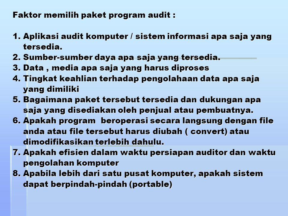 Faktor memilih paket program audit : 1. Aplikasi audit komputer / sistem informasi apa saja yang tersedia. 2. Sumber-sumber daya apa saja yang tersedi