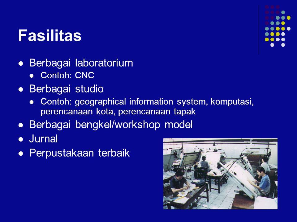 Fasilitas  Berbagai laboratorium  Contoh: CNC  Berbagai studio  Contoh: geographical information system, komputasi, perencanaan kota, perencanaan