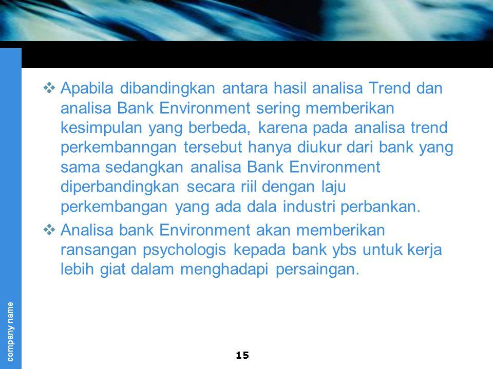 company name  Apabila dibandingkan antara hasil analisa Trend dan analisa Bank Environment sering memberikan kesimpulan yang berbeda, karena pada analisa trend perkembanngan tersebut hanya diukur dari bank yang sama sedangkan analisa Bank Environment diperbandingkan secara riil dengan laju perkembangan yang ada dala industri perbankan.