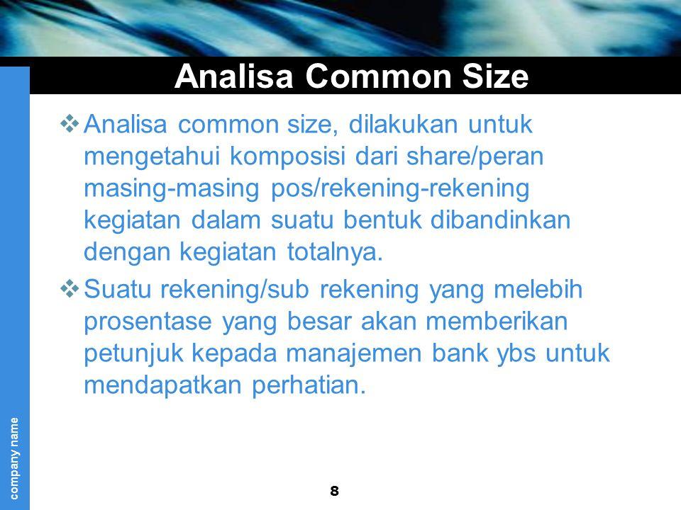 company name Analisa Common Size  Analisa common size, dilakukan untuk mengetahui komposisi dari share/peran masing-masing pos/rekening-rekening kegiatan dalam suatu bentuk dibandinkan dengan kegiatan totalnya.