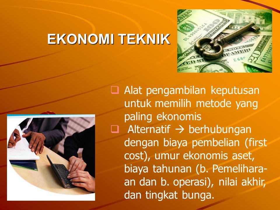 EKONOMI TEKNIK  Alat pengambilan keputusan untuk memilih metode yang paling ekonomis  Alternatif  berhubungan dengan biaya pembelian (first cost),