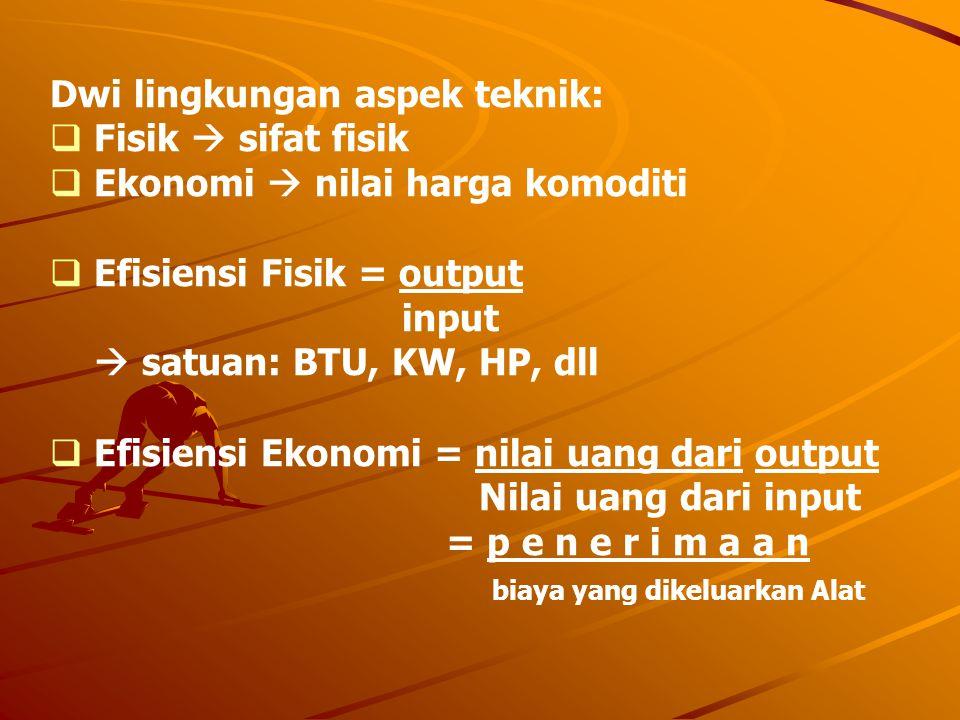 Dwi lingkungan aspek teknik:  Fisik  sifat fisik  Ekonomi  nilai harga komoditi  Efisiensi Fisik = output input  satuan: BTU, KW, HP, dll  Efis