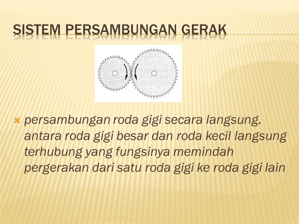  persambungan roda gigi secara langsung. antara roda gigi besar dan roda kecil langsung terhubung yang fungsinya memindah pergerakan dari satu roda g