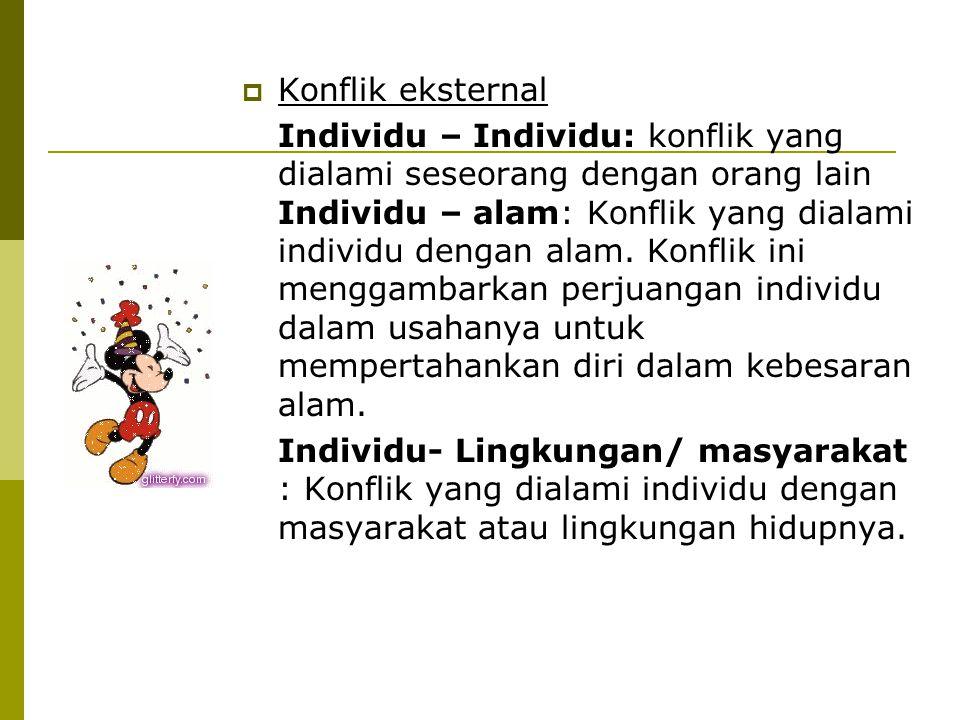  Konflik eksternal Individu – Individu: konflik yang dialami seseorang dengan orang lain Individu – alam: Konflik yang dialami individu dengan alam.