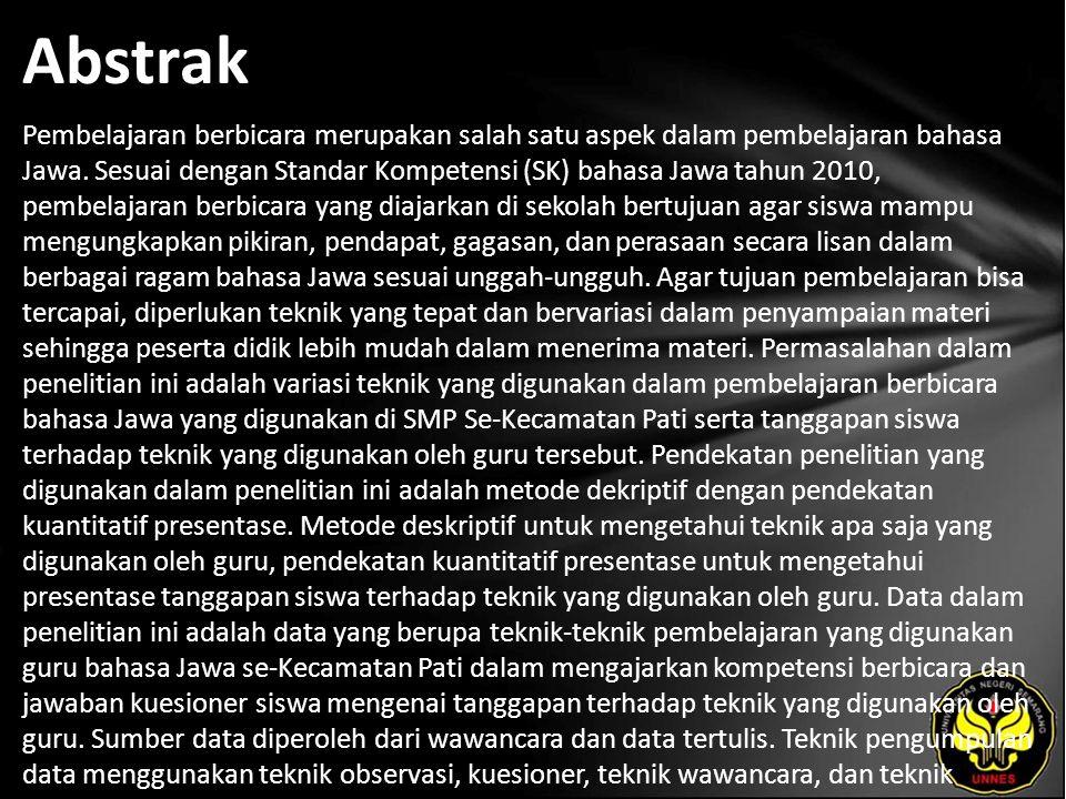 Abstrak Pembelajaran berbicara merupakan salah satu aspek dalam pembelajaran bahasa Jawa.
