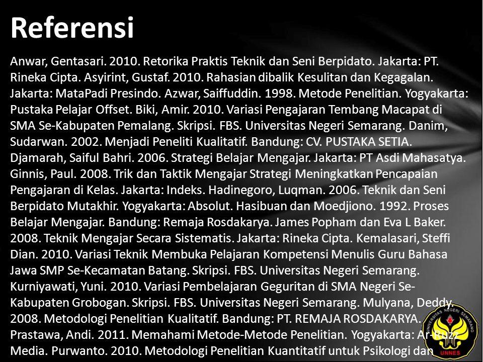 Referensi Anwar, Gentasari. 2010. Retorika Praktis Teknik dan Seni Berpidato.