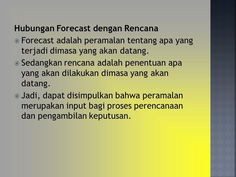 Hubungan Forecast dengan Rencana  Forecast adalah peramalan tentang apa yang terjadi dimasa yang akan datang.  Sedangkan rencana adalah penentuan ap