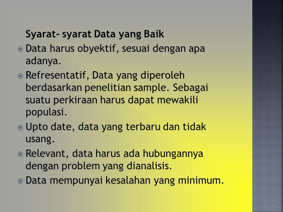 Syarat- syarat Data yang Baik  Data harus obyektif, sesuai dengan apa adanya.  Refresentatif, Data yang diperoleh berdasarkan penelitian sample. Seb