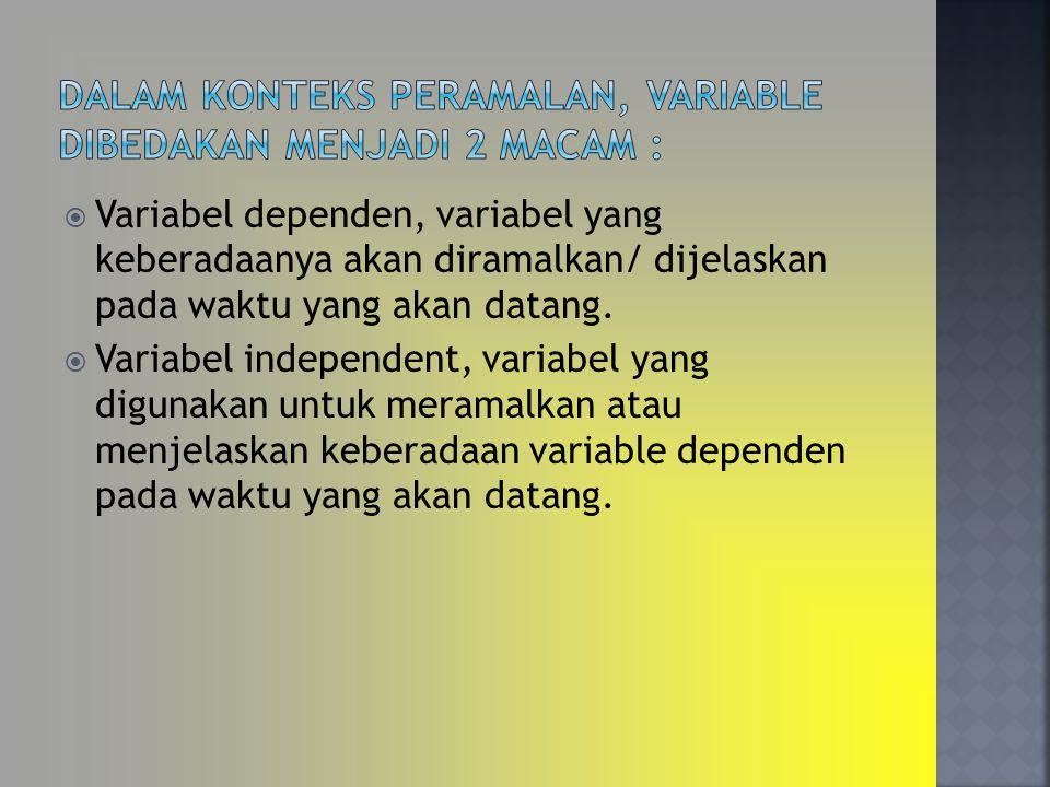  Variabel dependen, variabel yang keberadaanya akan diramalkan/ dijelaskan pada waktu yang akan datang.  Variabel independent, variabel yang digunak