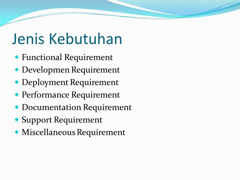Jenis Kebutuhan  Functional Requirement  Developmen Requirement  Deployment Requirement  Performance Requirement  Documentation Requirement  Sup