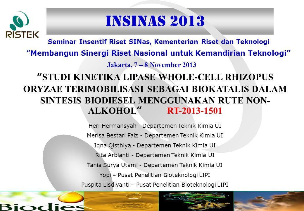 www.ristek.go.id Jakarta, 7 – 8 November 2013 Seminar Insentif Riset SINas, Kementerian Riset dan Teknologi Membangun Sinergi Riset Nasional untuk Kemandirian Teknologi INSINAS 2013 STUDI KINETIKA LIPASE WHOLE-CELL RHIZOPUS ORYZAE TERIMOBILISASI SEBAGAI BIOKATALIS DALAM SINTESIS BIODIESEL MENGGUNAKAN RUTE NON- ALKOHOL RT-2013-1501 Heri Hermansyah - Departemen Teknik Kimia UI Merisa Bestari Faiz - Departemen Teknik Kimia UI Iqna Qisthiya - Departemen Teknik Kimia UI Rita Arbianti - Departemen Teknik Kimia UI Tania Surya Utami - Departemen Teknik Kimia UI Yopi – Pusat Penelitian Bioteknologi LIPI Puspita Lisdiyanti – Pusat Penelitian Bioteknologi LIPI