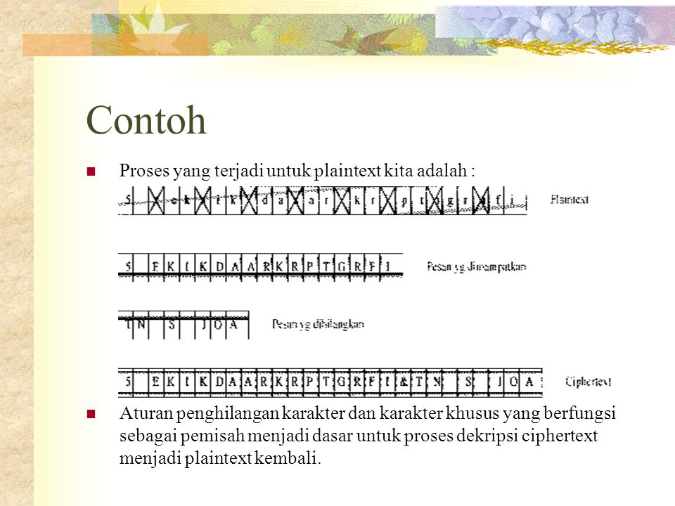 Contoh  Proses yang terjadi untuk plaintext kita adalah :  Aturan penghilangan karakter dan karakter khusus yang berfungsi sebagai pemisah menjadi d