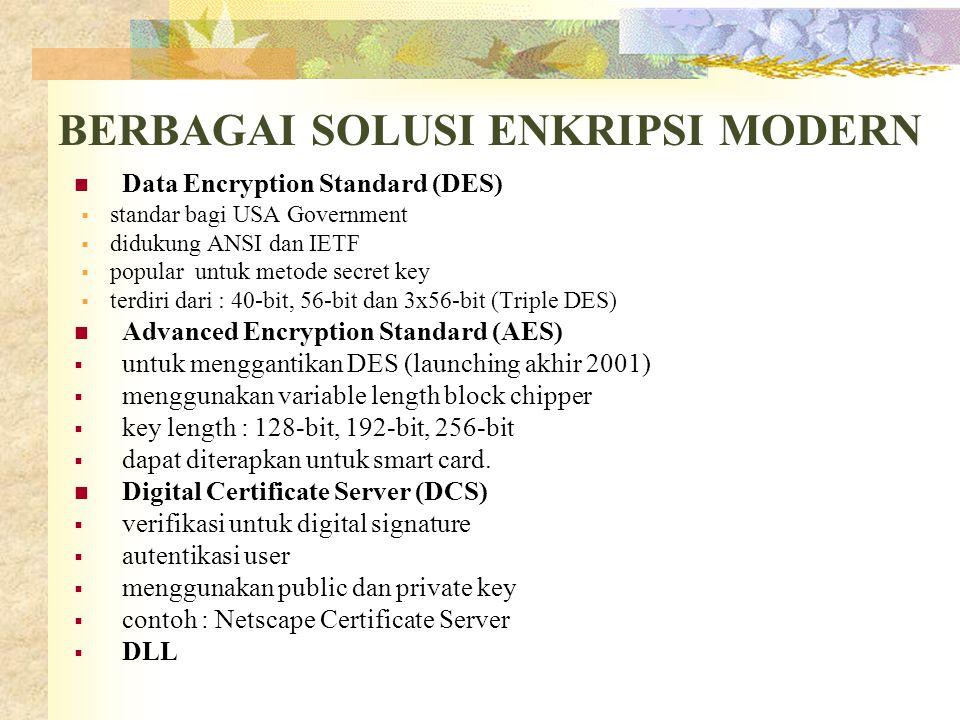 BERBAGAI SOLUSI ENKRIPSI MODERN  Data Encryption Standard (DES)  standar bagi USA Government  didukung ANSI dan IETF  popular untuk metode secret