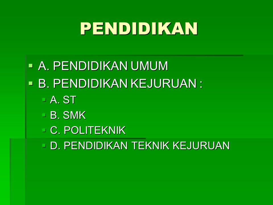 PENDIDIKAN  A. PENDIDIKAN UMUM  B. PENDIDIKAN KEJURUAN :  A. ST  B. SMK  C. POLITEKNIK  D. PENDIDIKAN TEKNIK KEJURUAN