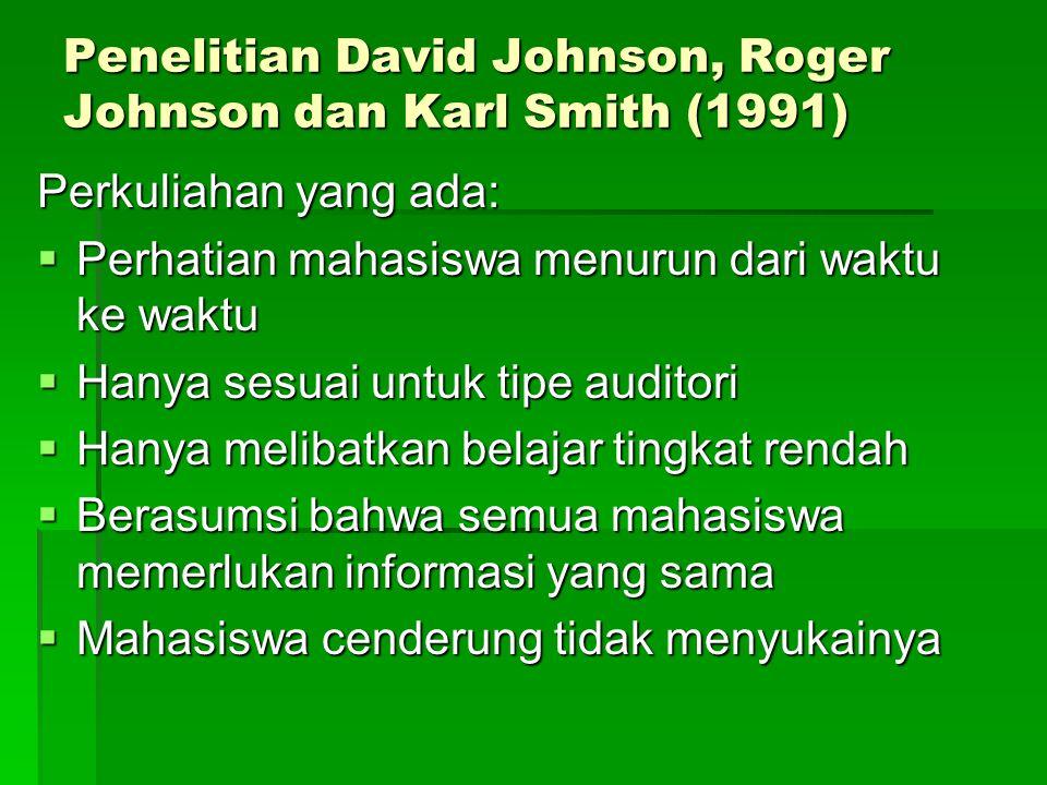 Penelitian David Johnson, Roger Johnson dan Karl Smith (1991) Perkuliahan yang ada:  Perhatian mahasiswa menurun dari waktu ke waktu  Hanya sesuai untuk tipe auditori  Hanya melibatkan belajar tingkat rendah  Berasumsi bahwa semua mahasiswa memerlukan informasi yang sama  Mahasiswa cenderung tidak menyukainya