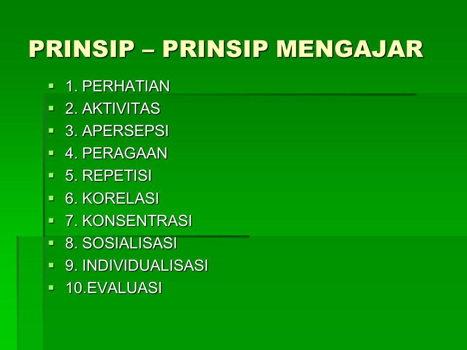PRINSIP – PRINSIP MENGAJAR  1. PERHATIAN  2. AKTIVITAS  3. APERSEPSI  4. PERAGAAN  5. REPETISI  6. KORELASI  7. KONSENTRASI  8. SOSIALISASI 