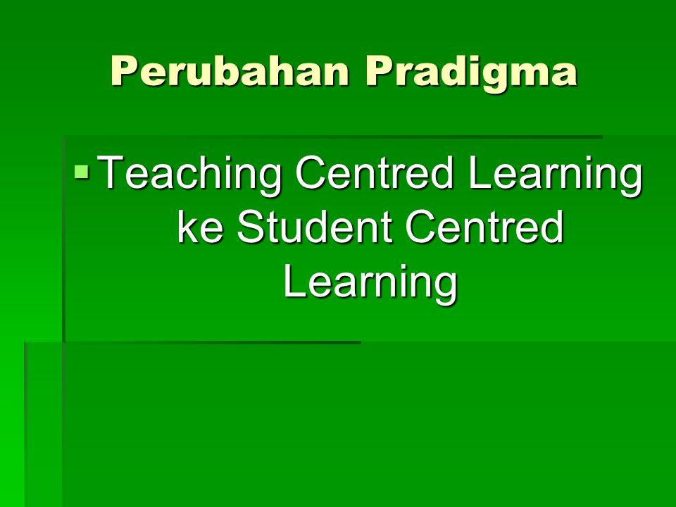 Perubahan Pradigma  Teaching Centred Learning ke Student Centred Learning