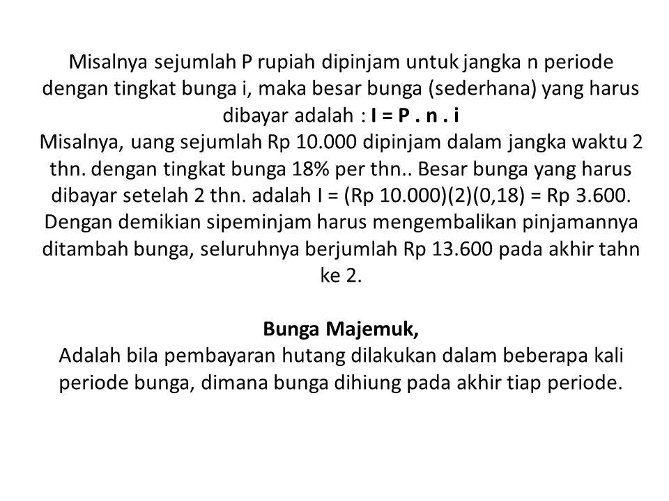 Rumus :P = F 1 / ( 1 + i ) n atau P = F ( P/F, i, n ) Contoh : Seseorang memperhitungkan bahwa 15 tahun yang akan datang anaknya yang sulung akan masuk perguruan tinggi, untuk itu diperkirakan membutuhkan biaya sebesar Rp 35.000.000,00.