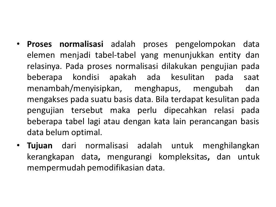 Pada proses normalisasi terhadap tabel pada database dapat dilakukan dengan tiga tahap normalisasi diantaranya:  Bentuk Normal ke Satu(1NF) Syarat : • Tidak ada set atribut yang berulang atau bernilai ganda.