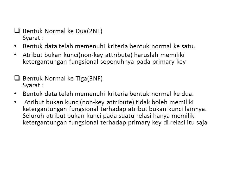  Bentuk Normal ke Dua(2NF) Syarat : • Bentuk data telah memenuhi kriteria bentuk normal ke satu.