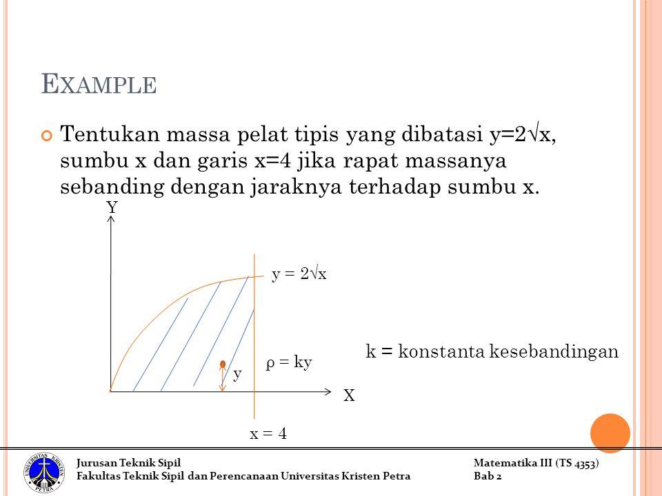 E XAMPLE Tentukan massa pelat tipis yang dibatasi y=2√x, sumbu x dan garis x=4 jika rapat massanya sebanding dengan jaraknya terhadap sumbu x. X Y y =