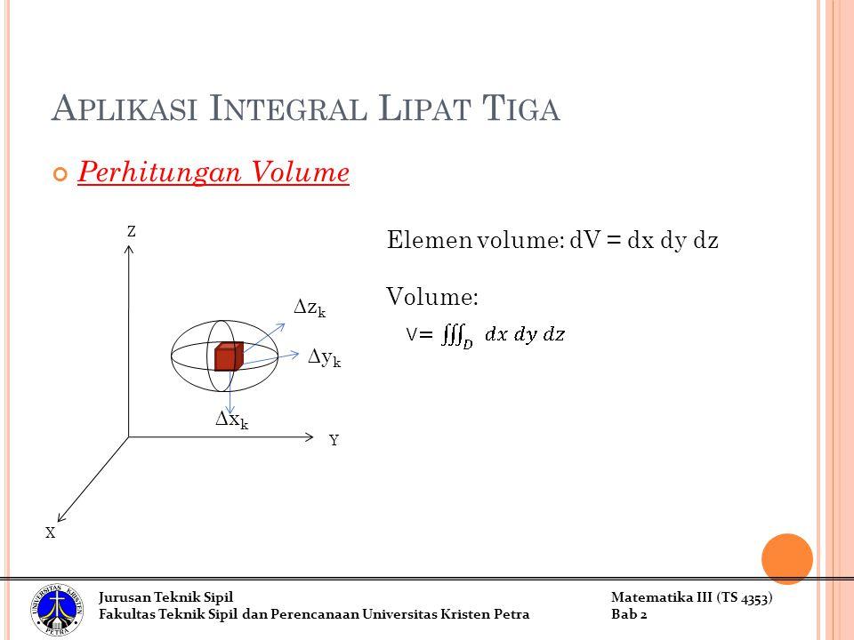 A PLIKASI I NTEGRAL L IPAT T IGA Perhitungan Volume Elemen volume: dV = dx dy dz Volume: ∆x k ∆y k ∆z k Z Y X Jurusan Teknik SipilMatematika III (TS 4