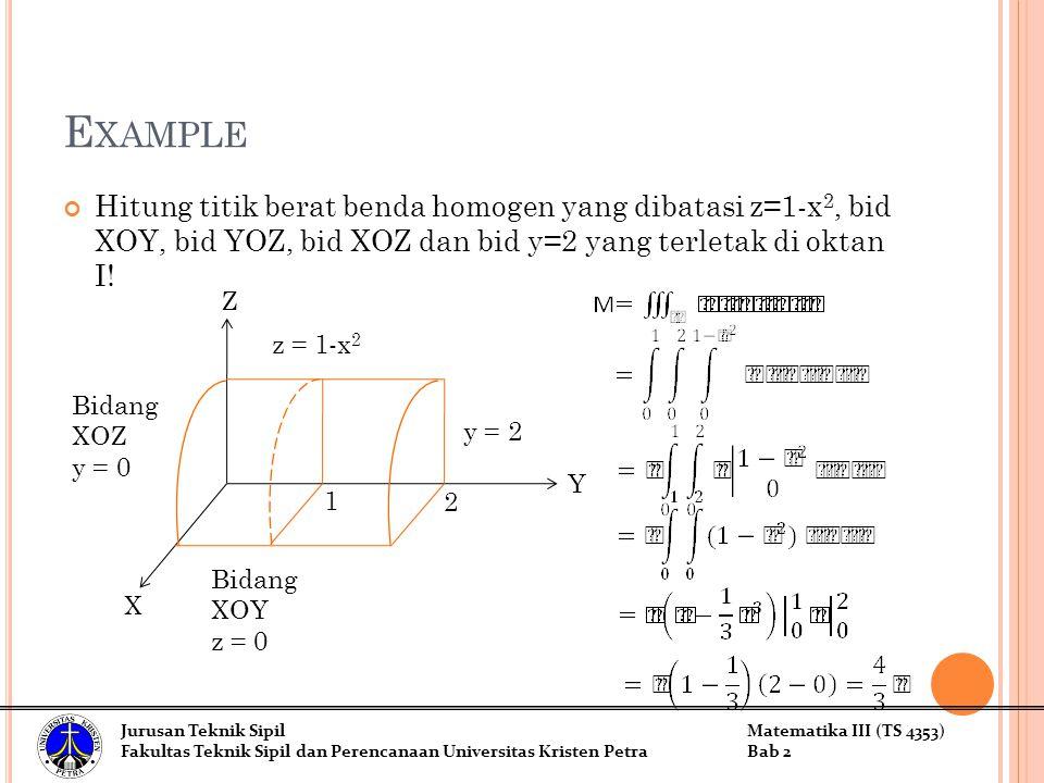 E XAMPLE Hitung titik berat benda homogen yang dibatasi z=1-x 2, bid XOY, bid YOZ, bid XOZ dan bid y=2 yang terletak di oktan I! Z X Y z = 1-x 2 y = 2