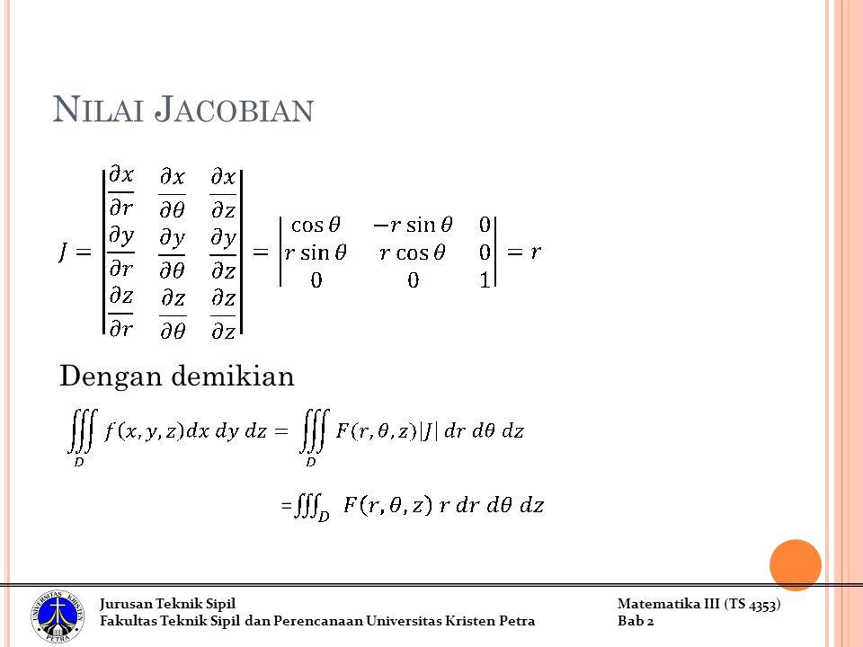 N ILAI J ACOBIAN Dengan demikian Jurusan Teknik SipilMatematika III (TS 4353) Fakultas Teknik Sipil dan Perencanaan Universitas Kristen PetraBab 2
