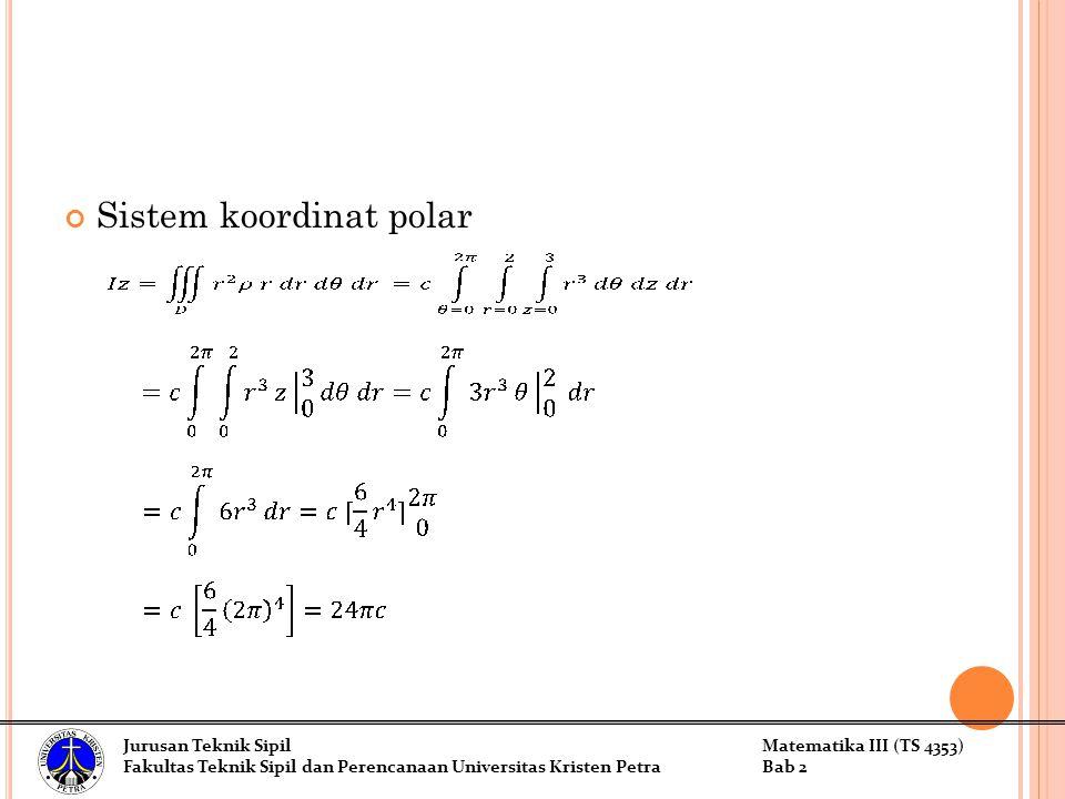Sistem koordinat polar Jurusan Teknik SipilMatematika III (TS 4353) Fakultas Teknik Sipil dan Perencanaan Universitas Kristen PetraBab 2
