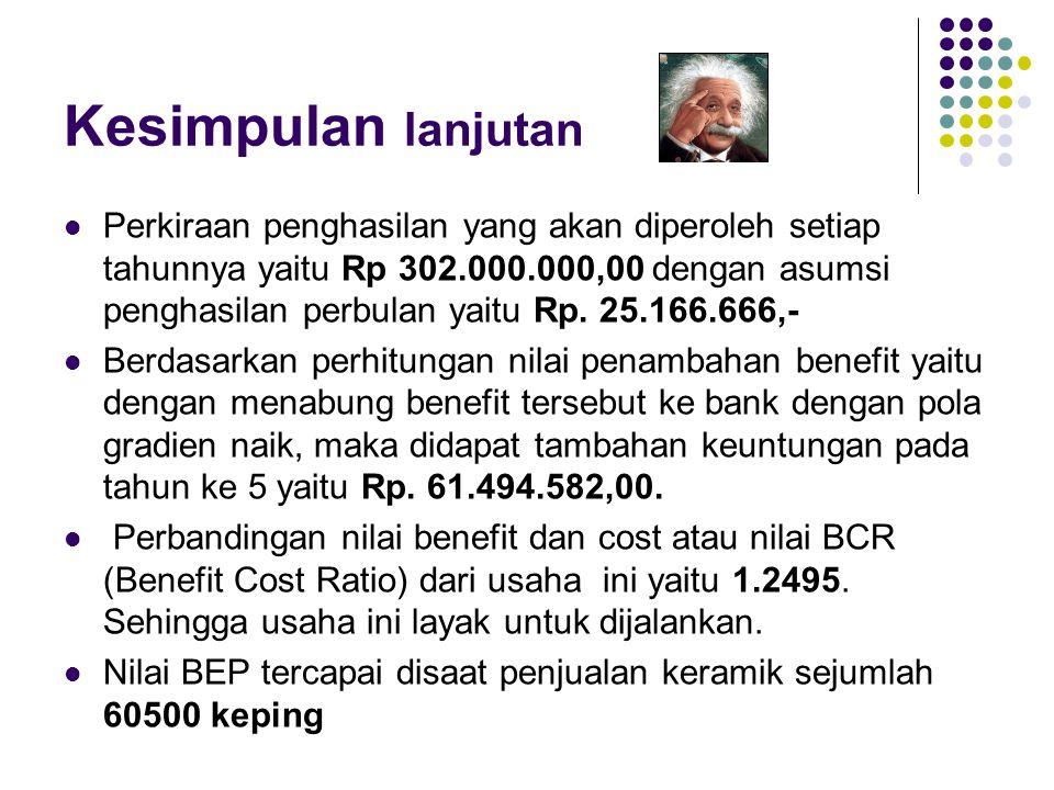 Kesimpulan lanjutan  Perkiraan penghasilan yang akan diperoleh setiap tahunnya yaitu Rp 302.000.000,00 dengan asumsi penghasilan perbulan yaitu Rp. 2