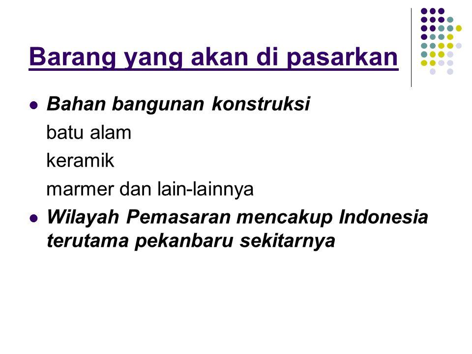 Barang yang akan di pasarkan  Bahan bangunan konstruksi batu alam keramik marmer dan lain-lainnya  Wilayah Pemasaran mencakup Indonesia terutama pek