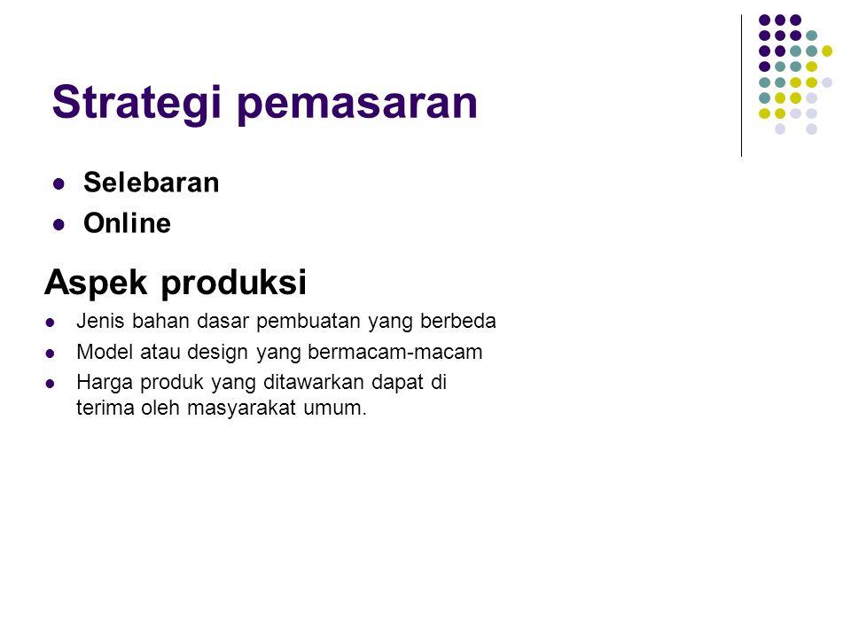 Strategi pemasaran  Selebaran  Online Aspek produksi  Jenis bahan dasar pembuatan yang berbeda  Model atau design yang bermacam-macam  Harga prod