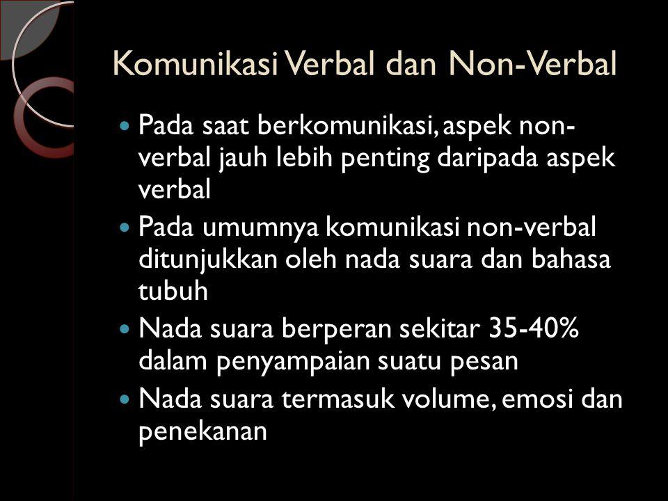 Komunikasi Verbal dan Non-Verbal  Pada saat berkomunikasi, aspek non- verbal jauh lebih penting daripada aspek verbal  Pada umumnya komunikasi non-v