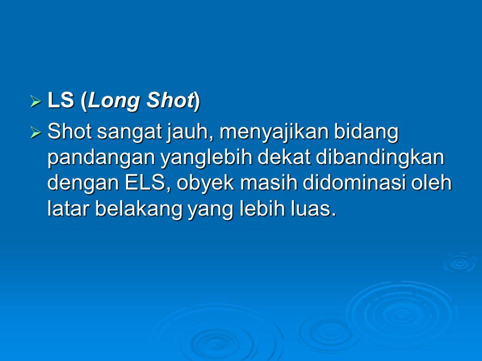  LS (Long Shot)  Shot sangat jauh, menyajikan bidang pandangan yanglebih dekat dibandingkan dengan ELS, obyek masih didominasi oleh latar belakang y