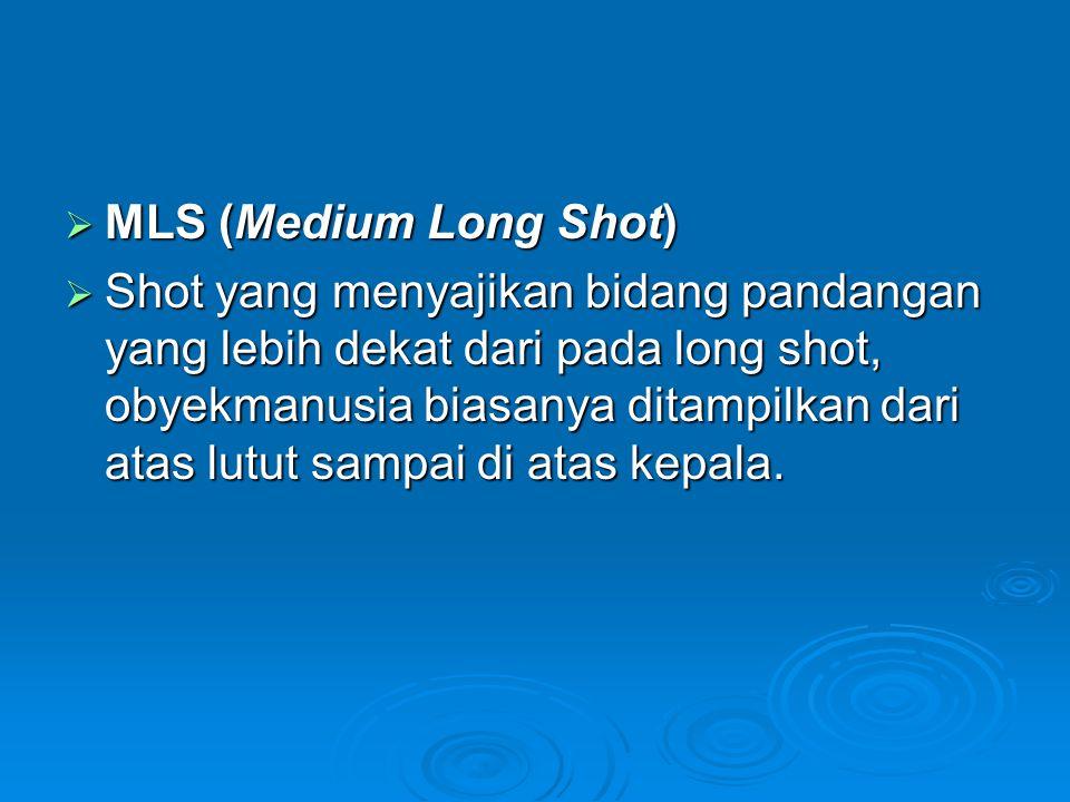  MLS (Medium Long Shot)  Shot yang menyajikan bidang pandangan yang lebih dekat dari pada long shot, obyekmanusia biasanya ditampilkan dari atas lut