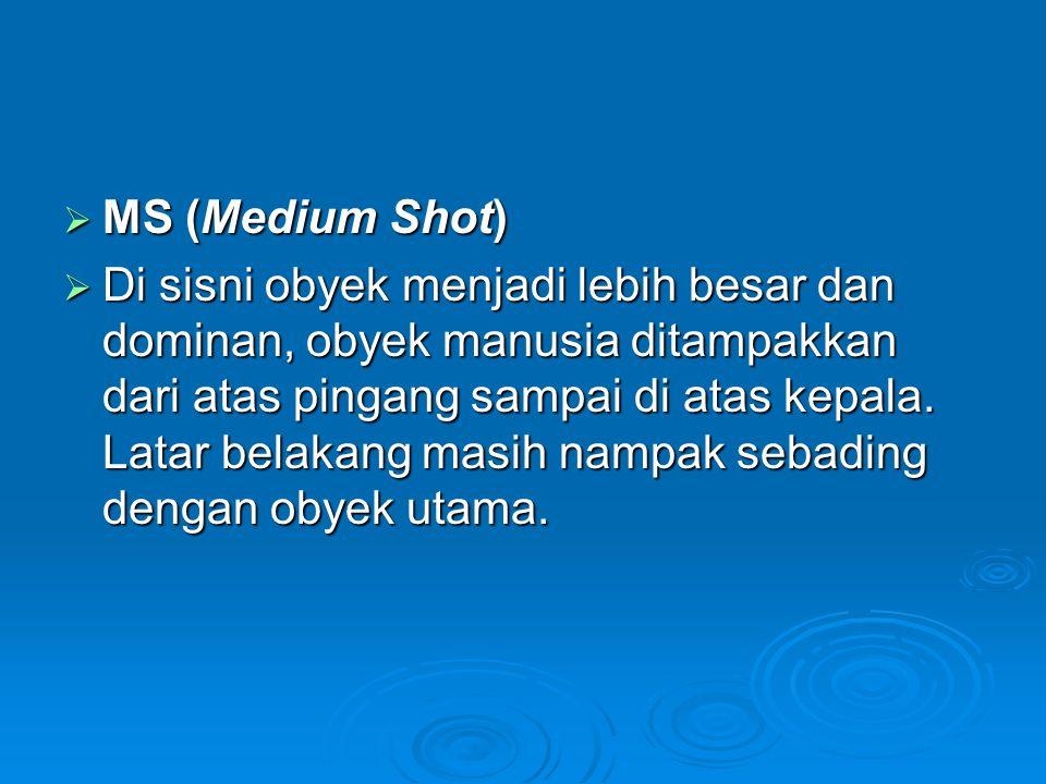  MS (Medium Shot)  Di sisni obyek menjadi lebih besar dan dominan, obyek manusia ditampakkan dari atas pingang sampai di atas kepala. Latar belakang