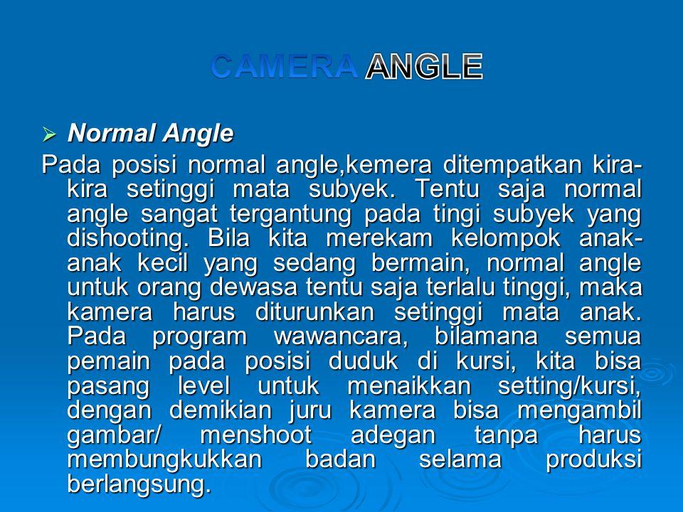  Normal Angle Pada posisi normal angle,kemera ditempatkan kira- kira setinggi mata subyek. Tentu saja normal angle sangat tergantung pada tingi subye