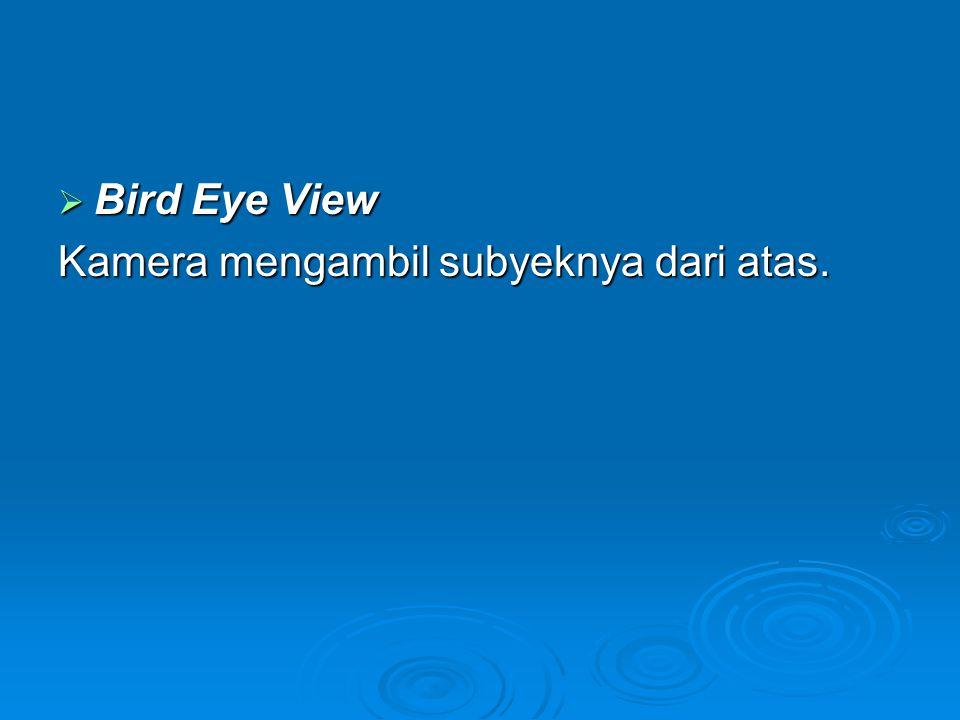  Bird Eye View Kamera mengambil subyeknya dari atas.