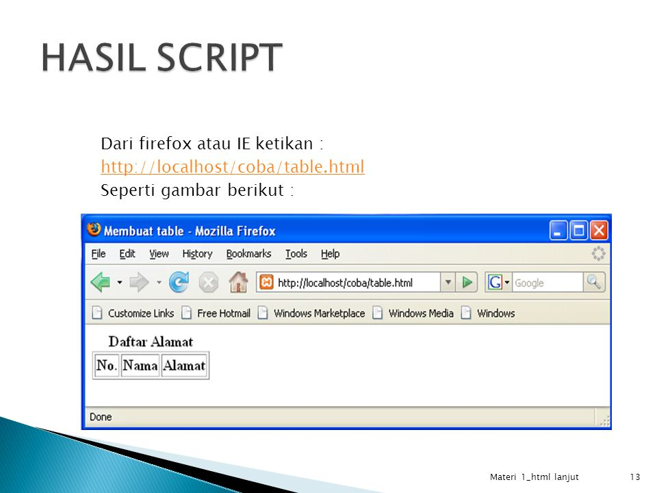 Dari firefox atau IE ketikan : http://localhost/coba/table.html Seperti gambar berikut : Materi 1_html lanjut 13