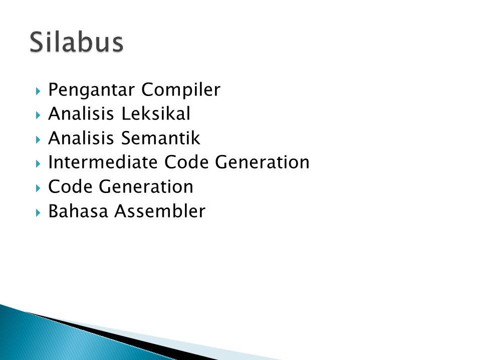  Pengantar Compiler  Analisis Leksikal  Analisis Semantik  Intermediate Code Generation  Code Generation  Bahasa Assembler