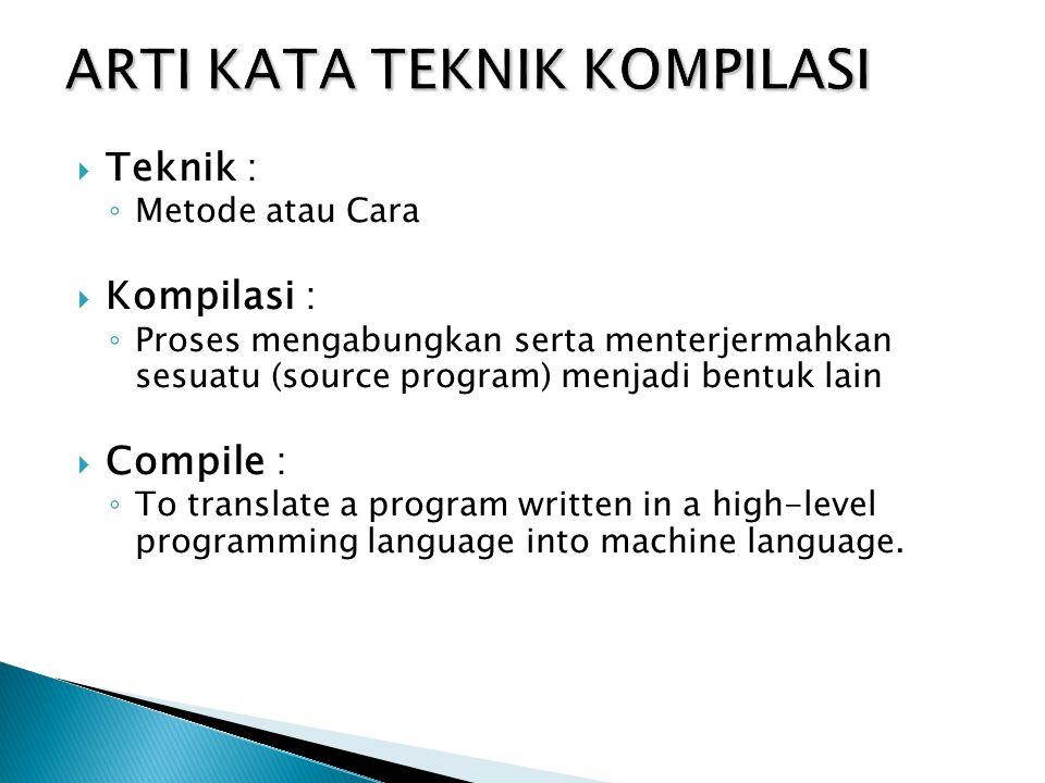  Teknik : ◦ Metode atau Cara  Kompilasi : ◦ Proses mengabungkan serta menterjermahkan sesuatu (source program) menjadi bentuk lain  Compile : ◦ To